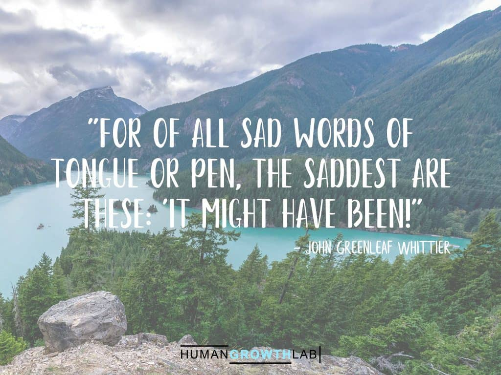"John Greenleaf Whittier quote on regrets - ""For of all sad words of 
