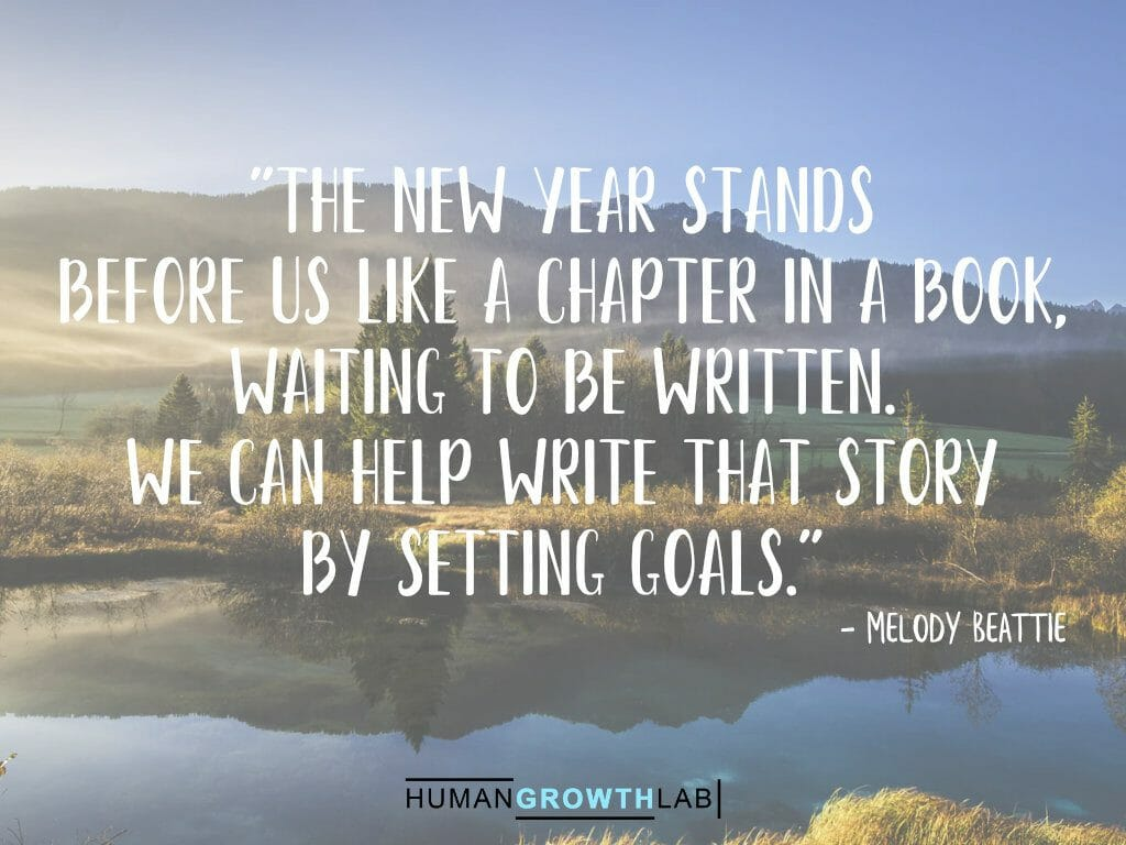 """Melody Beattie quote on New Year resolutions - """"The new year stands before us like a chapter in a book, waiting to be written. We can help write that story by setting goals."""""""