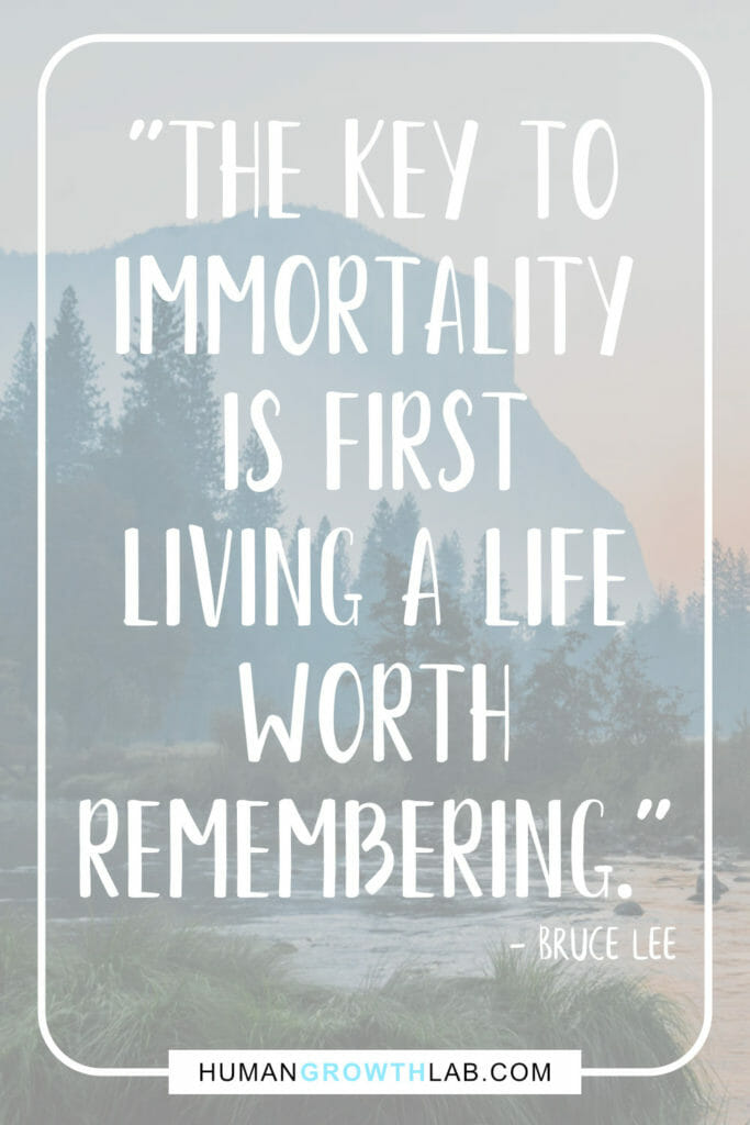 "Bruce Lee quote on living life to the full - ""The key to 