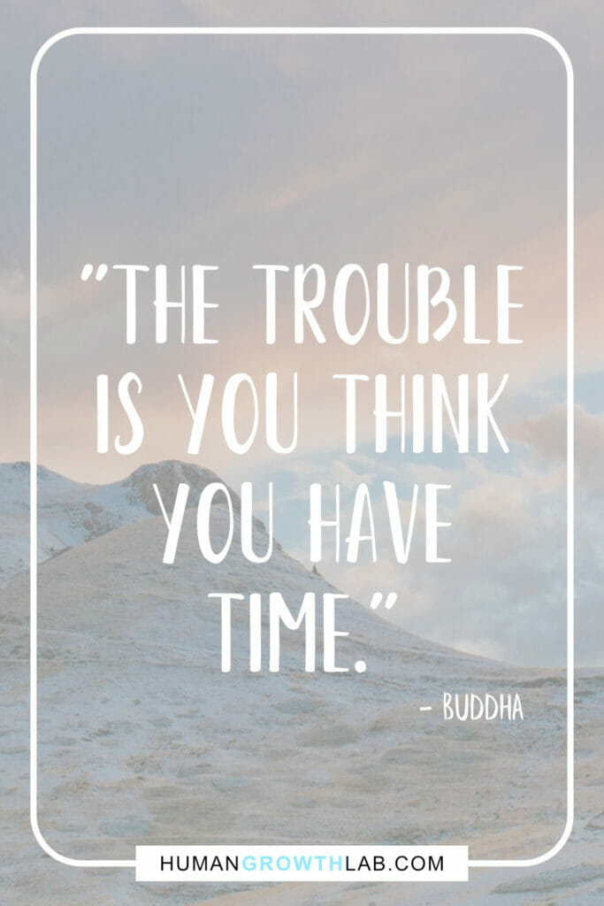 "Buddha quote on people thinking they have time - ""The trouble 