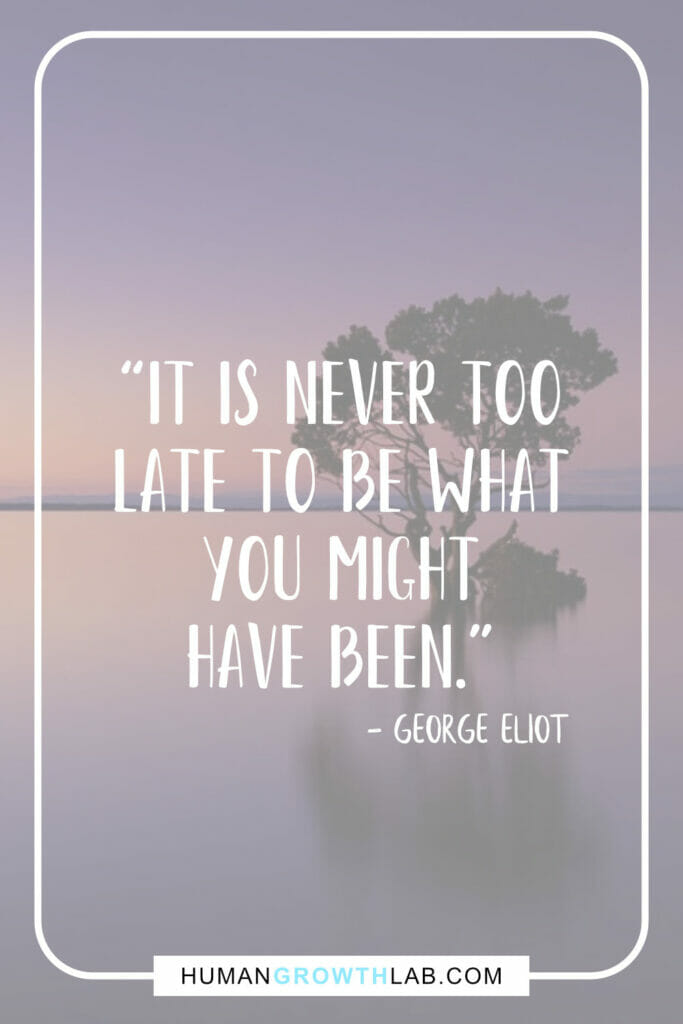 "George Eliot inspirational message quote - ""It is never too 