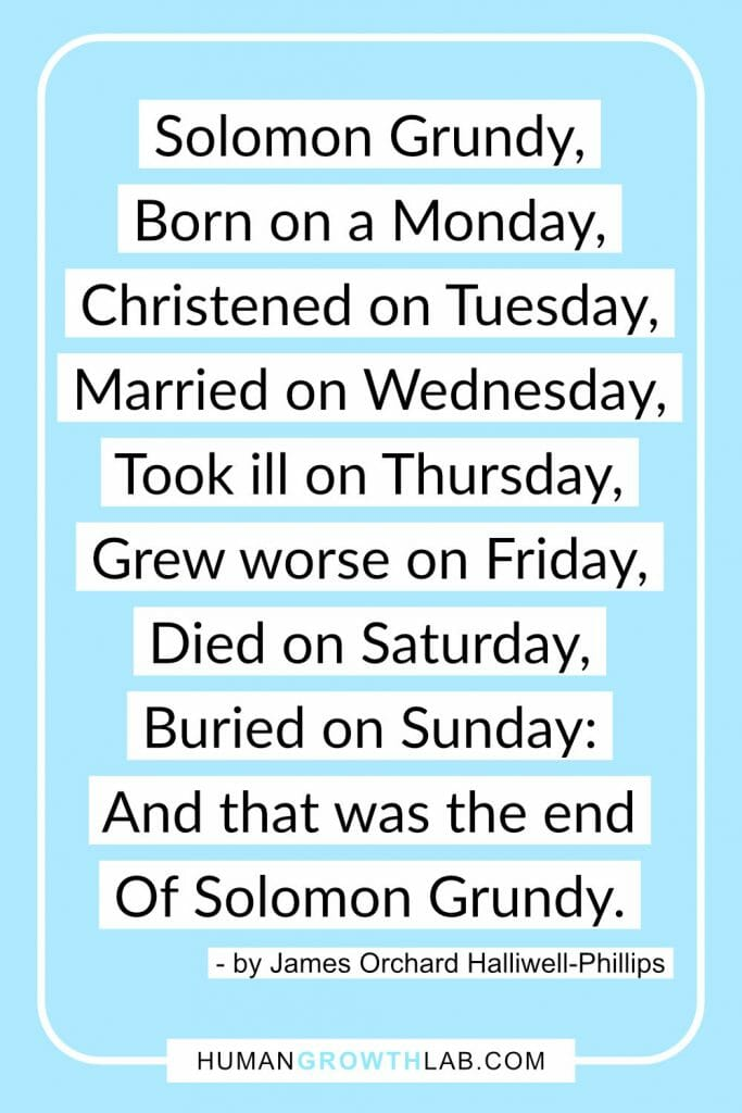 Solomon Grundy poem - Solomon Grundy, Born on a Monday, Christened on Tuesday, Married on Wednesday, Took ill on Thursday, Grew worse on Friday, Died on Saturday, Buried on Sunday: And that was the end Of Solomon Grundy.