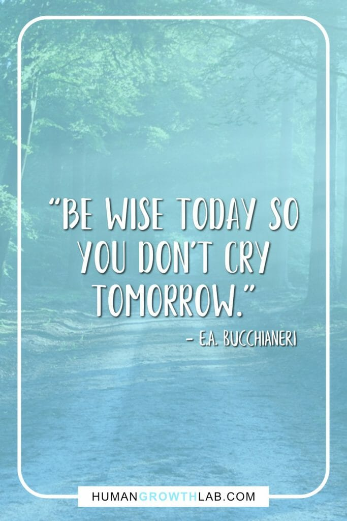"E A Bucchianeri no regret quote - ""Be wise today so you don't cry tomorrow."""