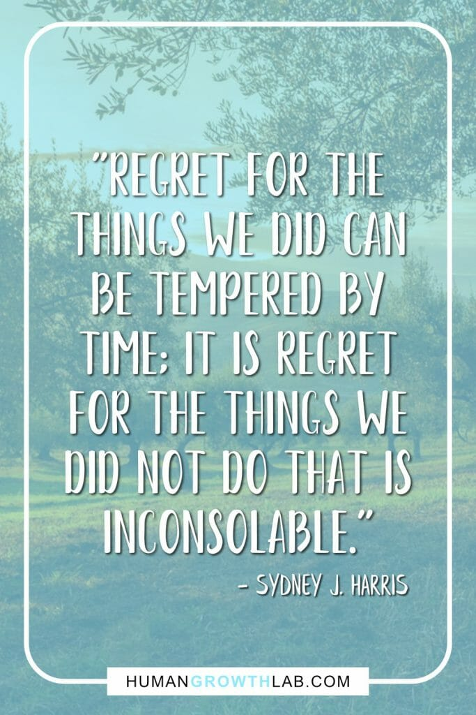 "Sydney J Harris quote on having no regrets in life - ""Regret for the things we did can be tempered by time; it is regret for the things we did not do that is inconsolable."""
