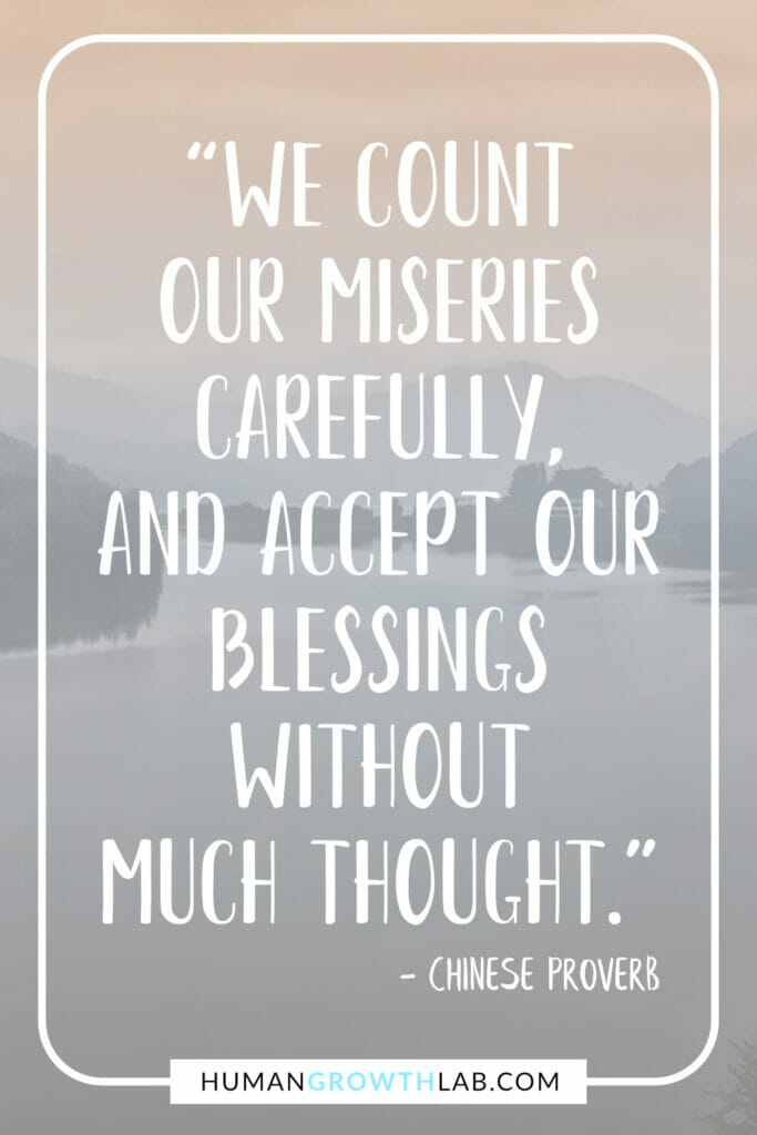 """Chinese saying about success 17 - """"We count our miseries carefully, and accept our blessings without much thought."""""""