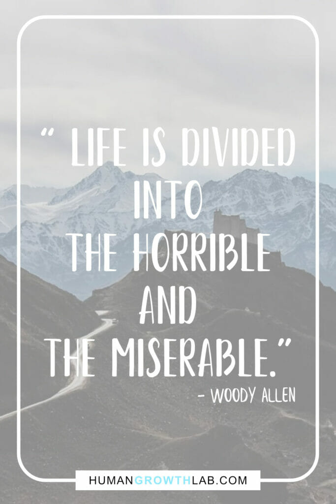 "Woody Allen quote on life sucking - "" Life is divided 